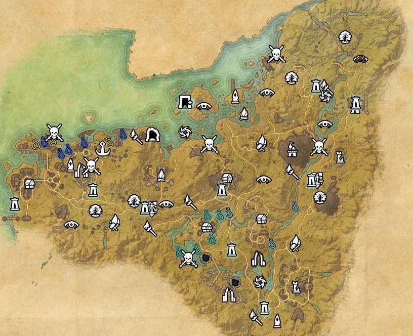 ESO fishing map Malabal Tor