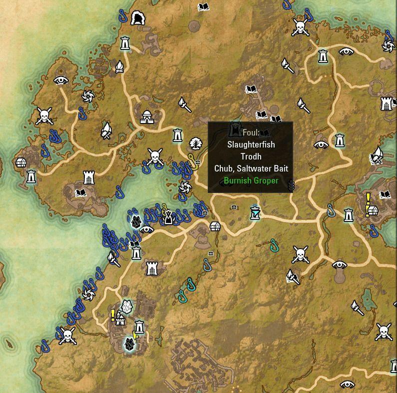 ESO fishing map Summerset