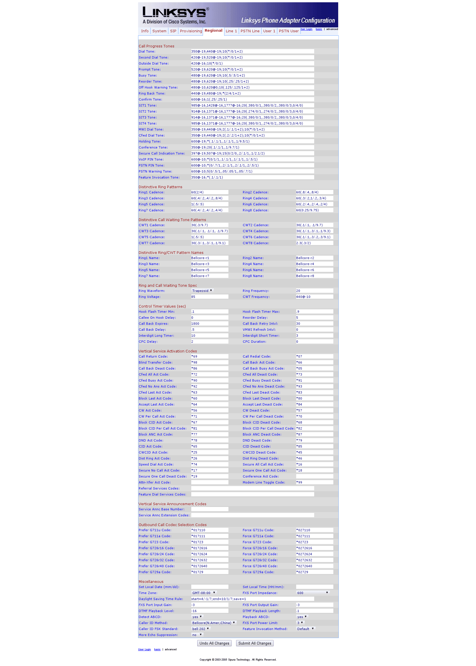 Sipura SPA Configuration 5 Regional
