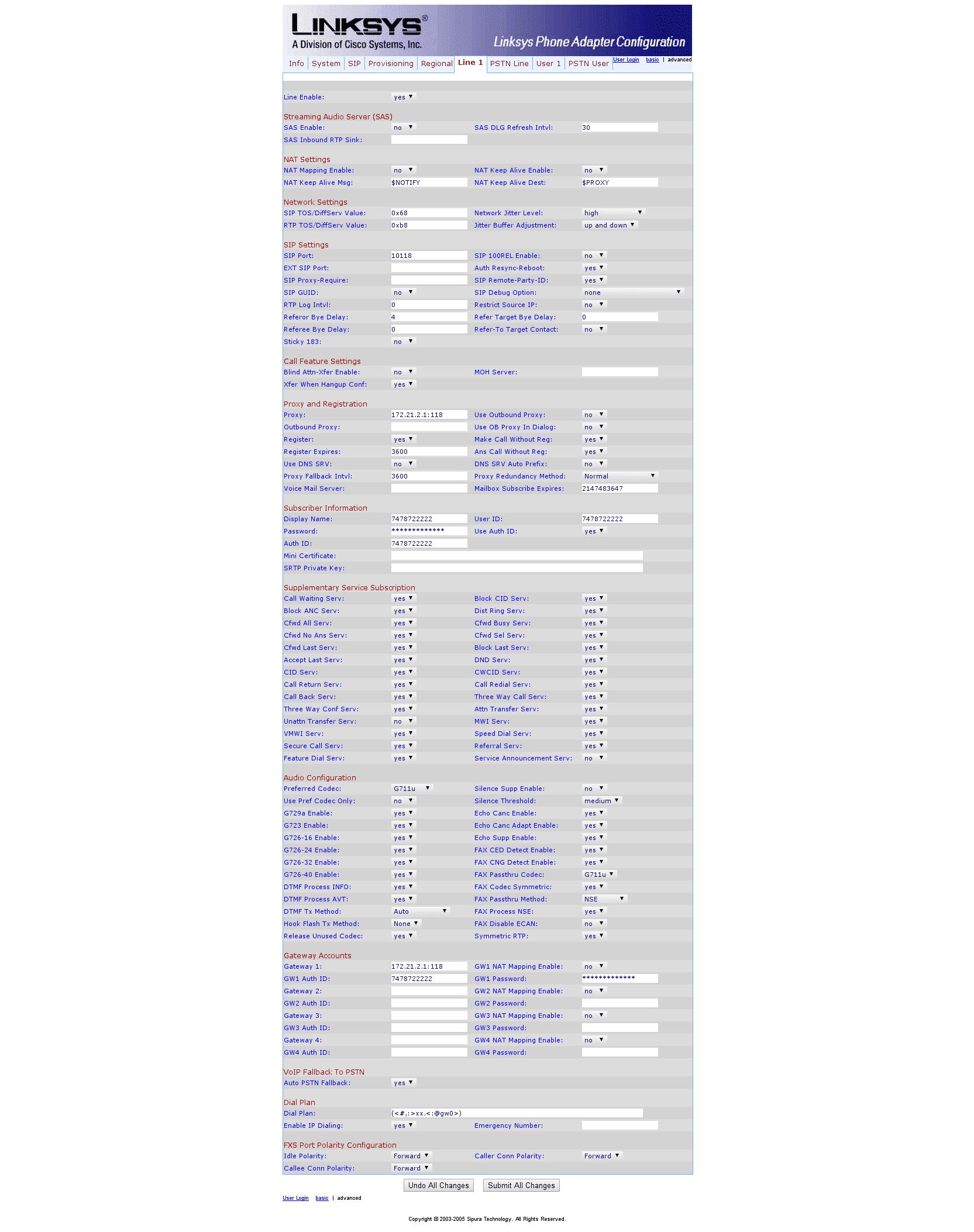 Sipura SPA Configuration 6 Line 1