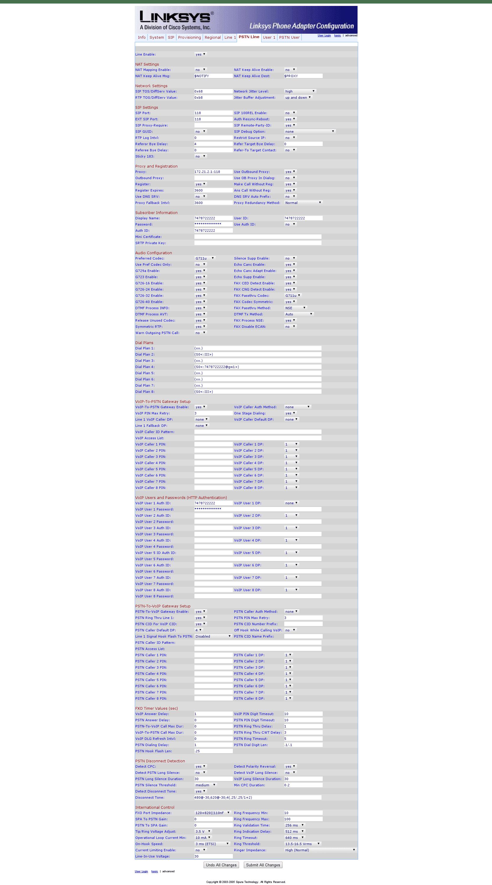 Sipura SPA Configuration 7 PSTN Line